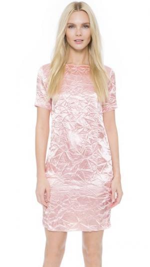 Жатое платье с короткими рукавами Nina Ricci. Цвет: бледно-розовый