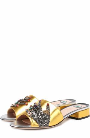 Сабо Wangy из металлизированной кожи с декором Gucci. Цвет: золотой