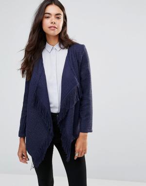 Unique 21 Куртка с бахромой. Цвет: темно-синий
