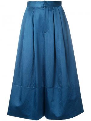 Широкие брюки Cityshop. Цвет: синий