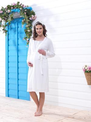 Халат для беременных BlackSpade. Цвет: белый