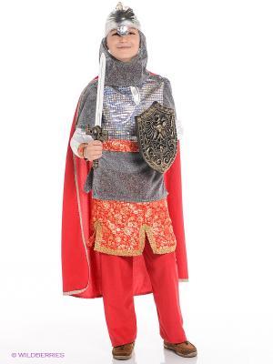 Карнавальный костюм Витязь Батик. Цвет: серый, красный