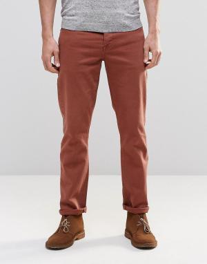 ASOS Красно-бурые эластичные узкие джинсы. Цвет: коричневый
