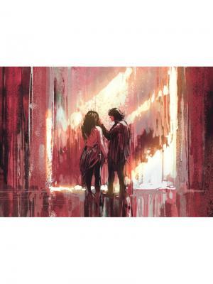 Картина Двое под дождем Ecoramka. Цвет: серо-коричневый, коричневый, светло-коричневый