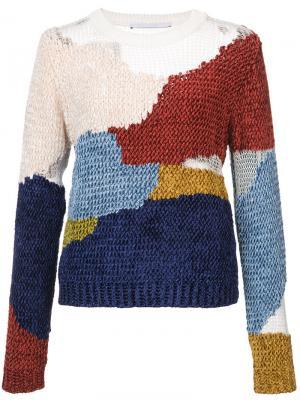 Пуловер с нашивками из шенилла Rosetta Getty. Цвет: многоцветный