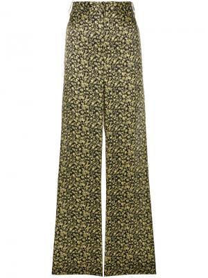 Широкие брюки с цветочным принтом Victoria Beckham. Цвет: чёрный