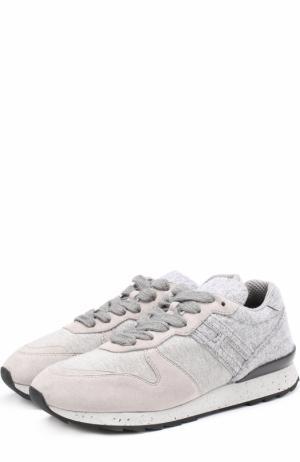Кожаные кроссовки на шнуровке Hogan. Цвет: светло-серый