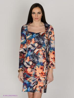 Платье Capriz. Цвет: оранжевый, синий, зеленый