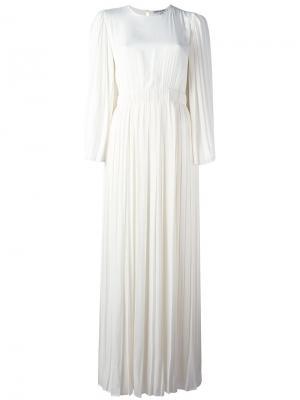 Плиссированное длинное платье Elizabeth And James. Цвет: белый