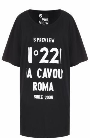 Удлиненная футболка свободного кроя с контрастной надписью 5PREVIEW. Цвет: черный