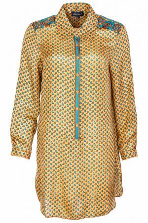 Свободная туника-рубашка с длинными рукавами Luisa Spagnoli. Цвет: желтый