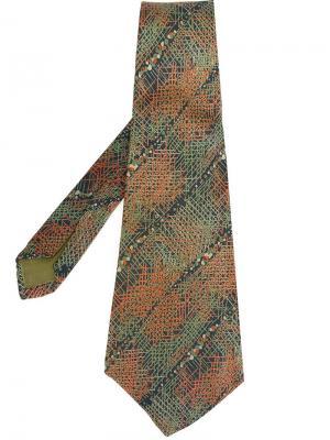 Галстук с вышивкой крестом Lanvin Vintage. Цвет: зелёный