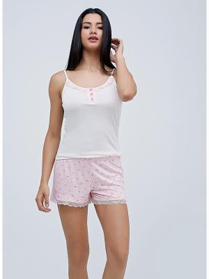 Комплект майка и шорты MARIPOSA. Цвет: бледно-розовый