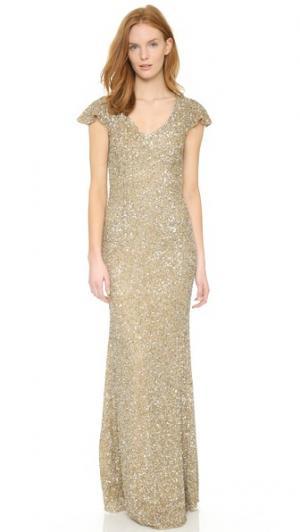 Вечернее платье с V-образным вырезом и отделкой в виде лепестков Theia. Цвет: родий