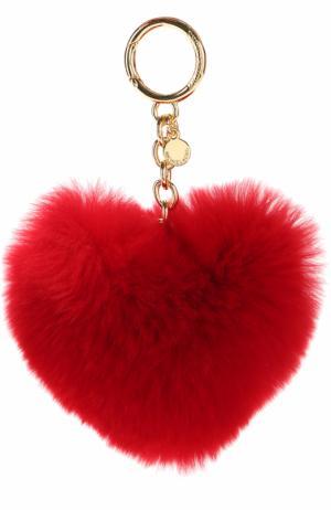 Брелок для ключей из меха кролика MICHAEL Kors. Цвет: красный