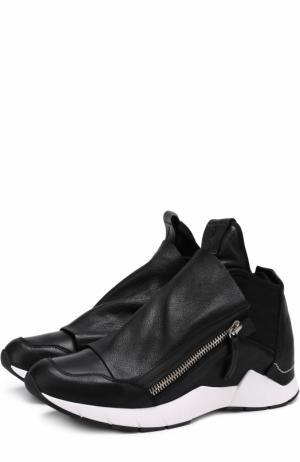 Высокие кожаные кроссовки без шнуровки на молнии Cinzia Araia. Цвет: черный