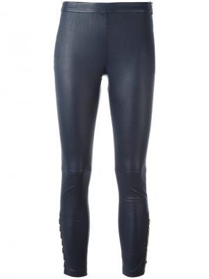 Кожаные брюки кроя скинни Pierre Balmain. Цвет: синий