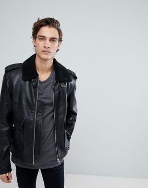Black Dust Кожаная куртка с воротником из искусственного меха. Цвет: черный