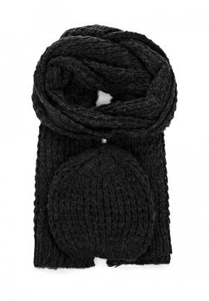 Комплект шапка и шарф Pieces. Цвет: серый