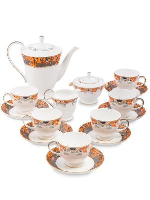 Чайный сервиз на 6 перс. Риомаджоре (Riomaggiore Pavone) Pavone. Цвет: белый,оранжевый