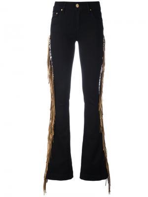 Расклешенные джинсы с бахромой сбоку Dont Cry Don't. Цвет: чёрный