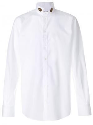 Рубашка с коронами на воротнике Dolce & Gabbana. Цвет: белый