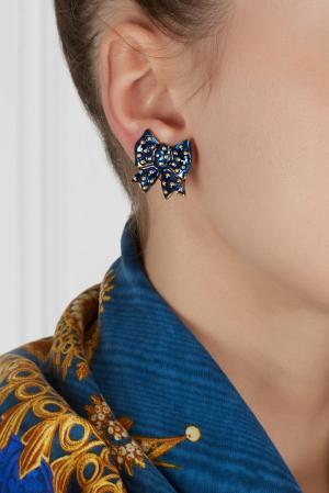Клипсы (80-е) Nina Ricci Vintage. Цвет: синий