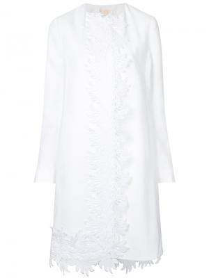 Пальто с вышивкой Sara Battaglia. Цвет: белый