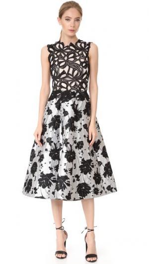 Платье без рукавов Monique Lhuillier. Цвет: черный/белый шелк