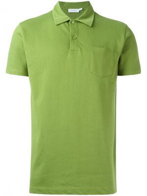 Рубашка-поло с накладным карманом Sunspel. Цвет: зелёный