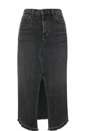 Джинсовая юбка-миди с высоким разрезом Denim X Alexander Wang. Цвет: серый