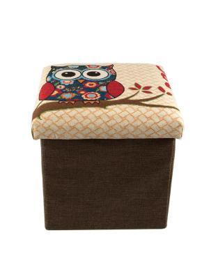 Пуф складной Сова с местом для хранения Русские подарки. Цвет: темно-коричневый,бежевый