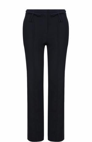 Шерстяные брюки прямого кроя со стрелками Valentino. Цвет: темно-синий