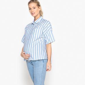 Блузка в полоску с плиссировкой сзади для периода беременности La Redoute Collections. Цвет: в полоску синий/белый