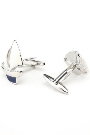Запонки морские яхты корабли Churchill accessories. Цвет: серебряный