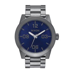 Часы  Corporal Ss Gunmetal/Cobalt Sunray Nixon. Цвет: серый,синий