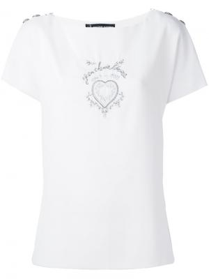 Топ с изображением сердца Jean Louis Scherrer Vintage. Цвет: белый