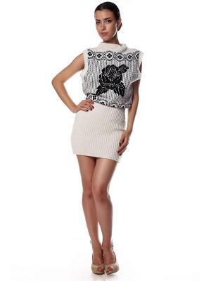 Платье-туника-жилет вязаное Черная роза на белом SEANNA