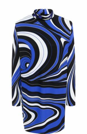 Мини-платье с длинным рукавом и воротником-стойкой Emilio Pucci. Цвет: синий