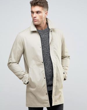 Brave Soul Классическая куртка-макинтош. Цвет: светло-бежевый