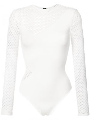 Long sleeve mesh leotard Alexandre Vauthier. Цвет: белый
