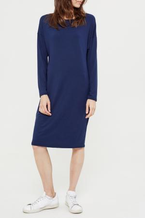 Свободное платье с длинными рукавами Lava. Цвет: темно-синий