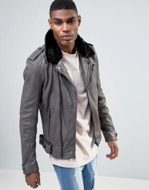 Avior Байкерская кожаная куртка с воротником из овечьей шерсти. Цвет: серый