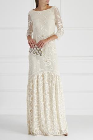 Платье с кружевом HOSS INTROPIA. Цвет: белый