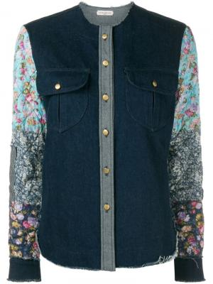Джинсовая рубашка с контрастными рукавами Natasha Zinko. Цвет: синий