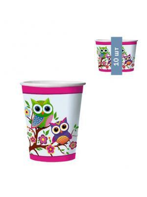 Набор одноразовых стаканов Совы, 0,25 л, 10 шт/упак Bulgaree Green. Цвет: розовый