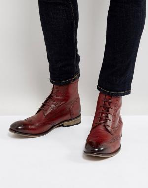 ASOS Бордовые кожаные броги на шнуровке. Цвет: красный