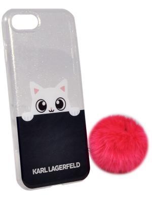Чехол Lagerfeld для iPhone 7 K-Peek A Boo Hard Transparent TPU Pink Karl. Цвет: розовый