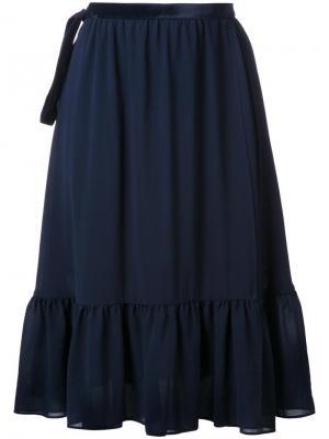 Расклешенная юбка с запахом Cityshop. Цвет: синий