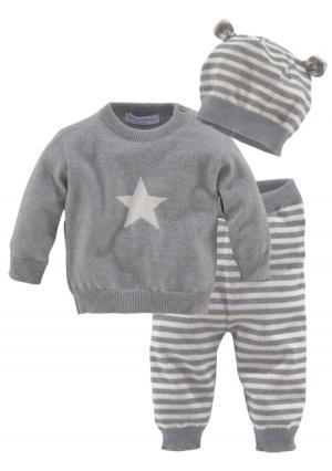 Комплект, 3 части: брюки + пуловер шапка KLITZEKLEIN. Цвет: серый+молочно-белый
